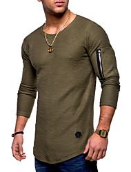 baratos -Homens Camiseta Básico Sólido Algodão Decote Redondo / Manga Longa
