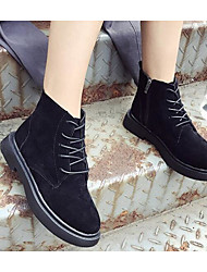 Недорогие -Жен. Обувь Полиуретан Зима Армейские ботинки Ботинки На плоской подошве Ботинки Черный