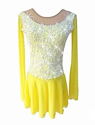 cheap -Figure Skating Dress Girls' Ice Skating Dress Yellow strenchy Professional Skating Wear Sequin Long Sleeve Figure Skating