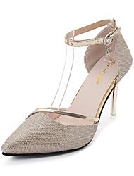 abordables -Femme Chaussures Synthétique / Polyuréthane Eté Confort Chaussures à Talons Marche Talon Aiguille Bout pointu Or / Argent