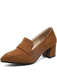 preiswerte -Damen Schuhe Kunstleder Frühling Pumps High Heels Blockabsatz Spitze Zehe für Normal Büro & Karriere Schwarz Grau Gelb