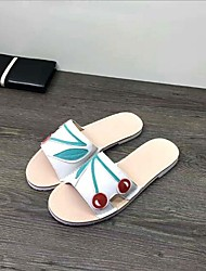 cheap -Women's Shoes Leather Summer Comfort Slippers & Flip-Flops Flat Heel for Casual Gold White Silver Yellow