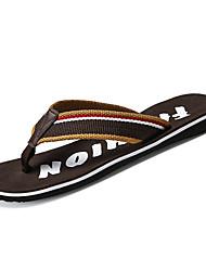cheap -Men's Shoes Fabric / PU Summer Comfort Slippers & Flip-Flops Black / Brown