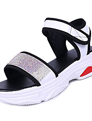 cheap -Women's Shoes PU Summer Comfort Sandals Low Heel for Outdoor White / Black