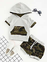 cheap -Boys' Daily Sports Going out Geometric Clothing Set, Cotton Polyester Summer Short Sleeves Dresswear Green