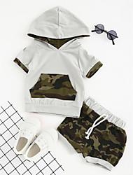 abordables -Ensemble de Vêtements Garçon Quotidien Sports Sortie Géométrique Coton Polyester Eté Manches Courtes Habillement Vert
