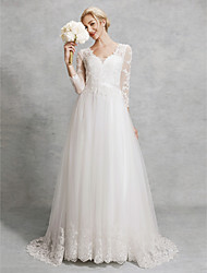 cheap -A-Line V Neck Court Train Lace / Tulle Made-To-Measure Wedding Dresses with Appliques / Sashes / Ribbons by LAN TING BRIDE® / Illusion Sleeve / Beautiful Back