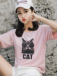 baratos -Mulheres Camiseta Básico Paetês / Estampado, Sólido Gato