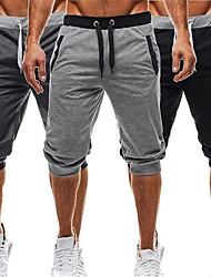 baratos -Homens Harém Shorts de Corrida - Preto, Cinza Escuro, Cinza Claro Esportes Shorts largos Fitness, Ginásio, Exercite-se Roupas Esportivas Leve, Respirabilidade Micro-Elástica