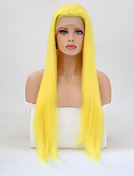 cheap -Synthetic Lace Front Wig Straight Blonde Layered Haircut Synthetic Hair Natural Hairline Blonde Wig Women's Long Lace Front Yellow / Yes