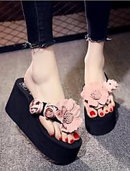 cheap -Women's Shoes Fabric Summer Comfort Slippers & Flip-Flops Wedge Heel Blue / Pink / Burgundy