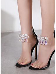 economico -Per donna Scarpe PU (Poliuretano) Autunno Con cinghia / Cinturino alla caviglia Sandali A stiletto Appuntite Con diamantini Nero / Tessuto almond