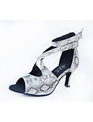 Недорогие -Жен. Обувь для латины / Обувь для сальсы / Обувь для самбы Лакированная кожа На каблуках В горошек Высокий каблук Персонализируемая