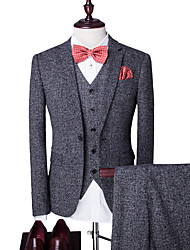 cheap -Men's Party Daily Business Casual Slim Suits-Houndstooth Notch Lapel / Please choose one size larger according to your normal size.
