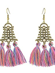 baratos -Mulheres Brincos Compridos - Vintage / Oversized / Fashion Azul / Rosa claro / Café luz Brincos Para Festa de Noite / Para Noite
