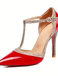 baratos -Mulheres Sapatos Couro Ecológico Primavera Verão Plataforma Básica Saltos Salto Agulha Dedo Apontado Presilha Prata / Vermelho / Nú