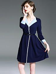economico -Per donna Moda città Linea A Vestito Monocolore Mini