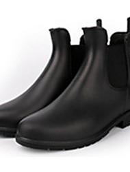 Недорогие -Жен. Обувь КожаПВХ Осень Резиновые сапоги Ботинки На низком каблуке Черный / Коричневый