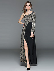 cheap -Women's Going out Vintage / Sophisticated Puff Sleeve Slim Sheath Dress - Color Block Lace / Split / Patchwork Maxi One Shoulder / Summer
