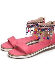 billige -Dame Sko Nubuck Læder Sommer Komfort Sandaler Flade hæle Åben Tå Kvast for udendørs Gul / Blå / Lys pink