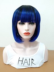cheap -Synthetic Wig Straight Bob Haircut Synthetic Hair Heat Resistant / Women / With Bangs Blue Wig Women's Mid Length Capless Black / Sapphire Blue / Yes