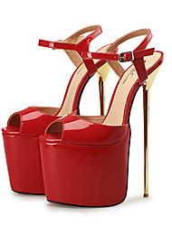 abordables -Mujer Zapatos PU Primavera Pump Básico Sandalias Tacón Stiletto Punta abierta Hebilla Blanco / Negro / Rojo / Fiesta y Noche