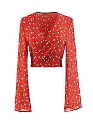 billige -Dame - Geometrisk Trykt mønster Gade Skjorte