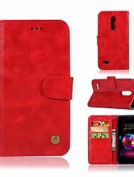economico -Custodia Per LG K10 2018 A portafoglio / Porta-carte di credito / Con supporto Integrale Tinta unita Resistente pelle sintetica per LG