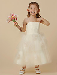 abordables -Princesa Hasta el Gemelo Vestido de Niña Florista - Tul Sin Mangas Correas con Flor por LAN TING BRIDE®