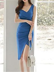 お買い得  -女性用 ボディコン ドレス ソリッド アシメントリー