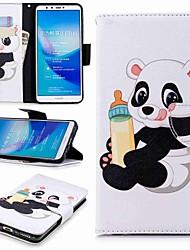 baratos -Capinha Para Huawei Y9 (2018)(Enjoy 8 Plus) / Enjoy 7S Carteira / Porta-Cartão / Com Suporte Capa Proteção Completa Panda Rígida PU