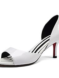 preiswerte -Damen Schuhe Leder Frühling Pumps / Komfort High Heels Stöckelabsatz für Weiß / Schwarz / Rot