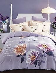 abordables -Sets Funda Nórdica Floral 100% algodón Estampado reactivo 4 Piezas