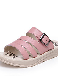 cheap -Women's Shoes Nappa Leather Summer Comfort Sandals Creepers Open Toe Buckle for Outdoor Beige / Pink / Light Green