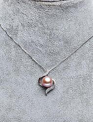 baratos -Mulheres S925 Sterling Silver / Pérolas de água doce Colares com Pendentes  -  Simples / Fashion / Elegante Únicos UNIQUE Branco / Roxo /