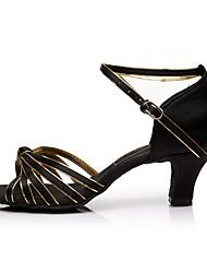 cheap -Women's Latin Shoes Satin Sandal / Heel Splicing Customized Heel Customizable Dance Shoes Black / Gold / Indoor