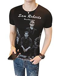 baratos -Homens Camiseta Básico Moda de Rua Retrato Letra