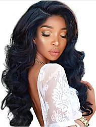 お買い得  -レミーヘア フロントレース かつら ブラジリアンヘア ウェーブ 130% 密度 ロング 女性用 人毛レースウィッグ