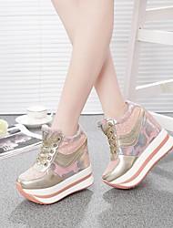 economico -Per donna Scarpe PU (Poliuretano) Estate Comoda Sneakers Piatto Nero / Argento / Rosa