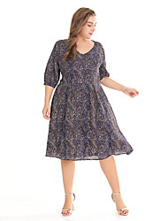 baratos -Mulheres Vintage / Boho Luva Lantern Reto / Chifon / balanço Vestido - Estampado, Geométrica Altura dos Joelhos Preto e cinza