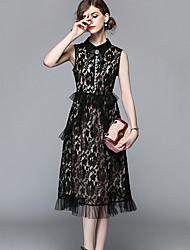 cheap -Women's Basic Slim Little Black Dress - Floral / Geometric Lace / Cut Out / Tassel Shirt Collar