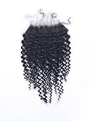 Недорогие -Бразильские волосы 4x4 Закрытие Кудрявый Бесплатный Часть Швейцарское кружево человеческие волосы Remy Жен. Для шоппинга