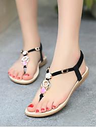 povoljno -Žene Cipele PU Ljeto Udobne cipele Sandale Ravna potpetica Otvoreno toe za Vanjski Crn / Bež / Plava