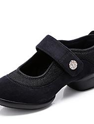 abordables -Mujer Zapatillas de Baile Tul Zapatilla Corte Tacón Plano Personalizables Zapatos de baile Negro