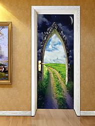 Недорогие -Декоративные наклейки на стены Дверные наклейки - 3D наклейки Пейзаж 3D Гостиная Спальня Ванная комната Кухня Столовая Кабинет / Офис