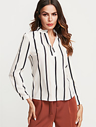 economico -Camicia Per donna Per uscire / Ufficio Moda città Sleeve Lantern A strisce / Monocolore A V / a righe sottili