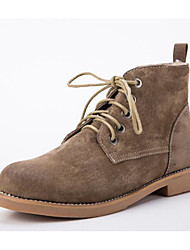 Недорогие -Жен. Обувь Кожа Зима Удобная обувь / Армейские ботинки Ботинки На низком каблуке Ботинки Черный / Верблюжий