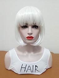 billiga -Syntetiska peruker Dam Rak Vit Bob-frisyr Syntetiskt hår Dam / Medelstorlek / Med Bangs Vit Peruk Mellanlängd Utan lock Vit / Ja