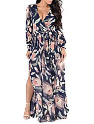 abordables -Mujer Tallas Grandes Simple / Básico Vaina Vestido Geométrico Maxi Escote en V Profunda / Verano