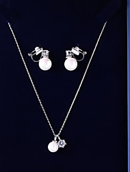 cheap -Women's Cubic Zirconia Jewelry Set - Ball Sweet Include Drop Earrings / Pendant Necklace White For Wedding / Gift